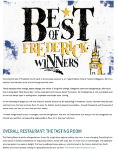 Frederick Magazine, Frederick MD, Visit Frederick MD, Downtown frederick partnership, the tasting room, trbar, tr bar, galentines day, weddings, dmv, zagat, chef driven, eater dc, edible dc, tsg scout guide dc, frederick news post, dmv food, tauraso, blank slate, lori tauraso, mike tauraso, tauraso food group, urablankslate, maryland blogger, real reviews,